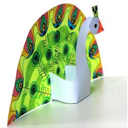 孔雀开屏手工制作图解 幼儿园剪纸做孔雀教程