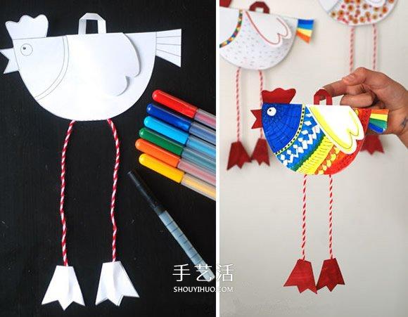 幼兒剪紙製作小雞掛飾 卡紙做小雞掛飾的方法