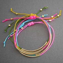 简单又好看手链编法 金色管珠手链编织图解