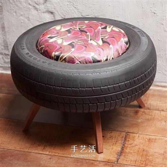 廢舊輪胎改造沙發椅子 舊輪胎改造椅子的圖片
