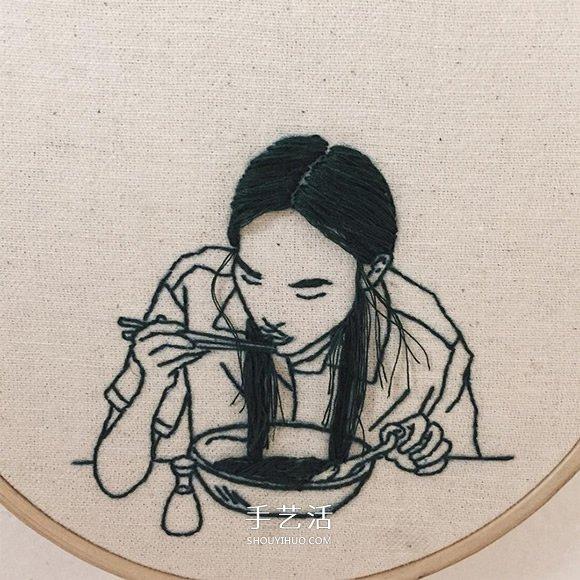 3D立体感的刺绣作品 精美的手工刺绣发型 -  www.shouyihuo.com