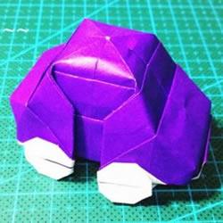 立体小汽车的折法图解 手工折纸汽车的折