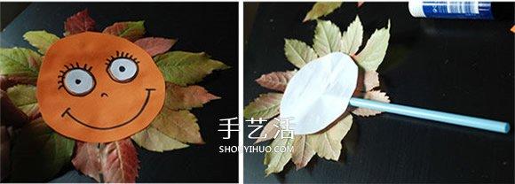 简单又漂亮向日葵树叶贴画的做法图解 -  www.shouyihuo.com