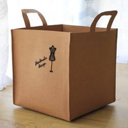 水洗牛皮纸DIY手工制作四方形杂物篮的教