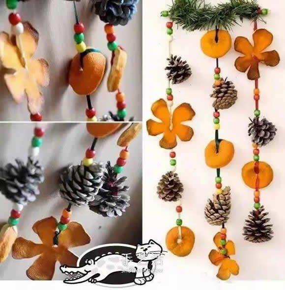 橙子皮废物利用做挂饰 简单橙皮小挂饰DIY制作 -  www.shouyihuo.com