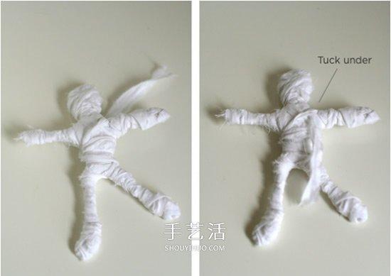万圣节木乃伊手工制作 简单木乃伊玩具的做法 -  www.shouyihuo.com