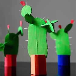 幼儿园仙人掌手工制作 瓦楞纸仙人掌的做