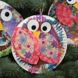 纸餐盘手工小制作 做成可爱的猫头鹰挂饰