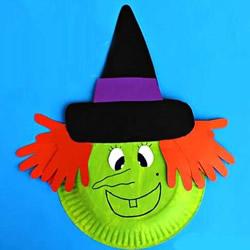 万圣节女巫面具的做法 餐盘做女巫头像的