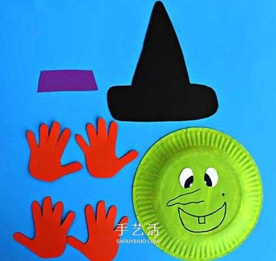 万圣节女巫面具的做法 餐盘做女巫头像的方法 -  www.shouyihuo.com