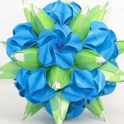 绿萝魔灵花球的折法图解 折纸绿萝魔灵花