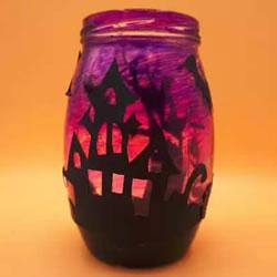 万圣节玻璃灯笼DIY教程 恐怖城堡灯饰手工制作