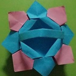 八角花篮的折法图解 怎么四个折纸花篮步骤图