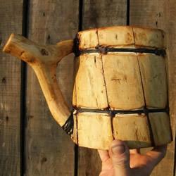 原木制作粗犷啤酒杯 自制大号啤酒杯的过程
