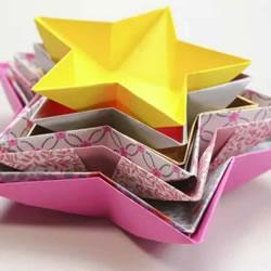 五角星糖果盘的折法 怎么折五角星纸盘图解