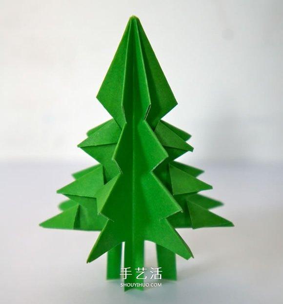 怎样折立体圣诞树图解 儿童立体圣诞树的折法 -  www.shouyihuo.com