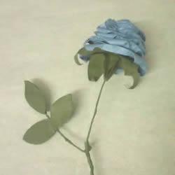 玫瑰花的折纸步骤图解 手揉纸折25瓣玫瑰