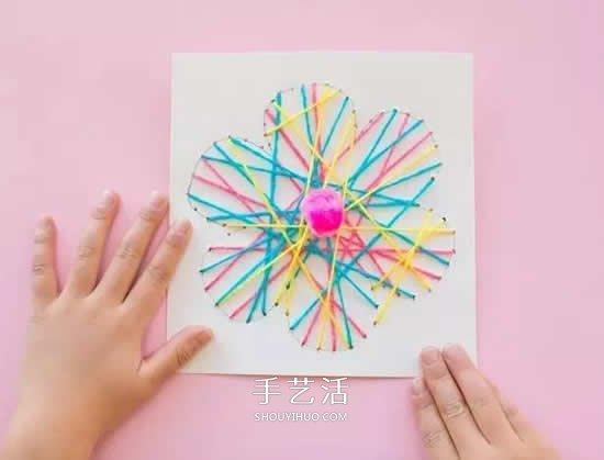 毛线绕线花朵图案制作 儿童用毛线做花的教程 手艺活网