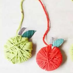 幼儿园苹果手工制作 硬纸板和毛线做苹果方法