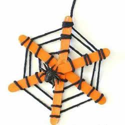 蜘蛛网的制作方法图解 万圣节雪糕棍做蜘蛛网