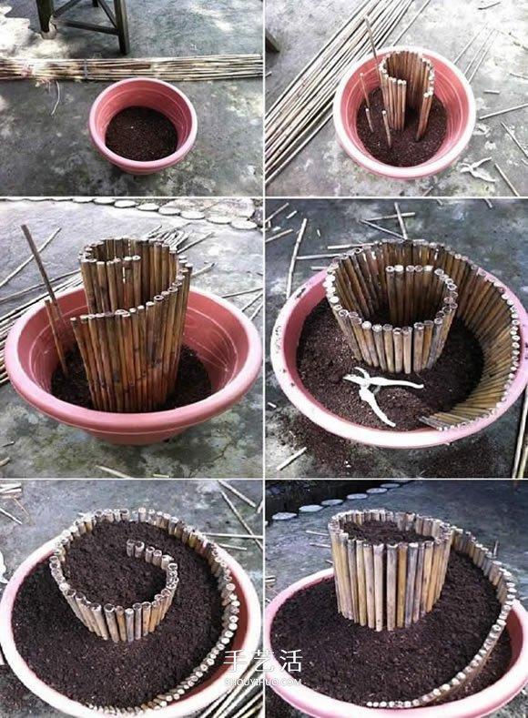 破损花盆做盆景的方法 破花盆废物利用DIY盆景 -  www.shouyihuo.com