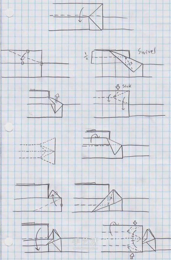 鯊魚嘴的摺紙方法圖解 怎麼折鯊魚嘴步驟圖