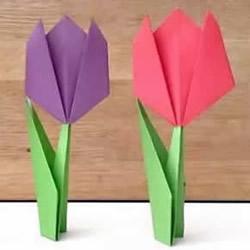 简单又漂亮!郁金香和花茎叶子的折法图解