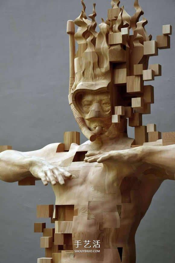 木头人像素化!传统木雕与数位元素的结合 -  www.shouyihuo.com