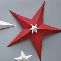 国庆节五角星手工制作 卡纸做立体五角星图解
