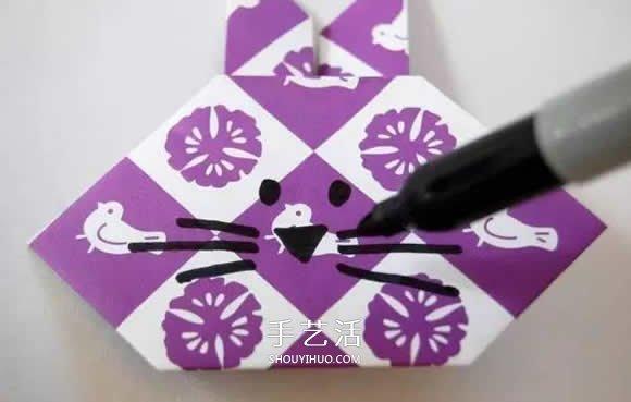 幼兒摺紙兔頭的方法 簡易手工兔頭的折法圖解