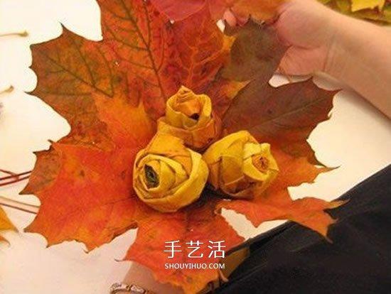 楓葉手工製作玫瑰花苞 樹葉玫瑰花苞的做法