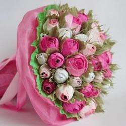 皱纹纸糖果花的做法 皱纹纸玫瑰花手工制