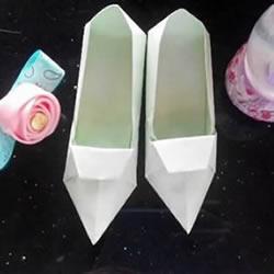 简易高跟鞋的折法图解 手工折纸高跟鞋的