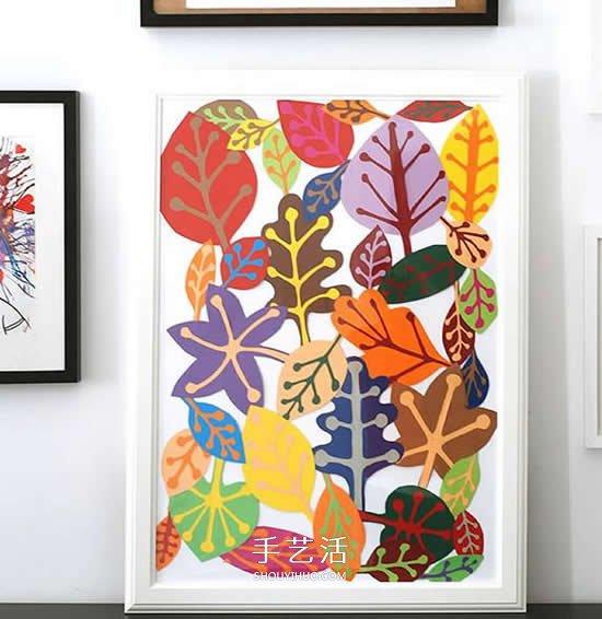 簡單樹葉裝飾畫制作 兒童卡紙樹葉畫的做法