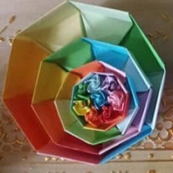 八角形纸盒的折法图解 手工折纸彩虹盒子步骤