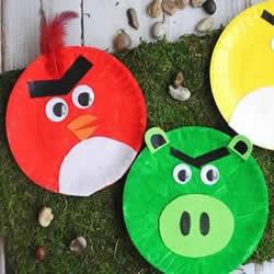 纸餐盘废物利用 手工制作愤怒的小鸟图解