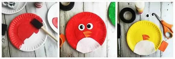 紙餐盤廢物利用 手工製作憤怒的小鳥圖解