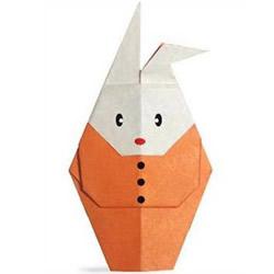 中秋节穿衣服的兔子折纸图解 步骤很简单