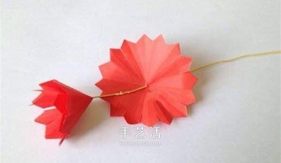 母亲节康乃馨花的做法 彩纸康乃馨手工制作 -  www.shouyihuo.com
