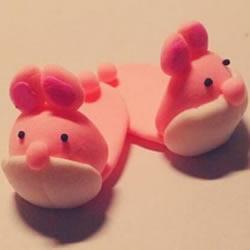 超轻粘土DIY兔子拖鞋 粉红兔子拖鞋粘土教程