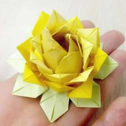 祈福莲花折纸方法图解 简单莲花的折法步