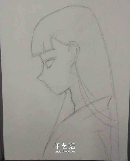 卡通女生铅笔画画法 侧脸长发女生的素描教程 - www.shouyihuo.com