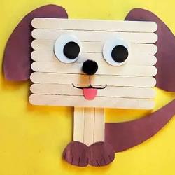 幼儿园做小狗狗的教程 雪糕棍手工制作小狗