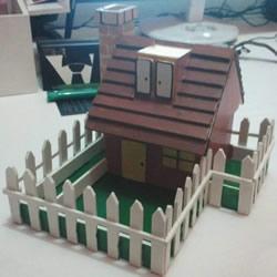 PVC板制作带院子的房子模型 兼具收纳功能