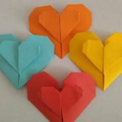 心心相印的折法步骤图 手工折纸心心相印
