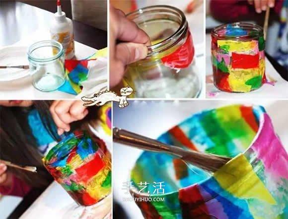 玻璃瓶做灯笼的方法 儿童手工制作玻璃灯笼 -  www.shouyihuo.com