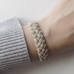 皮绳手链编法DIY图解 皮绳手工编织简约手链