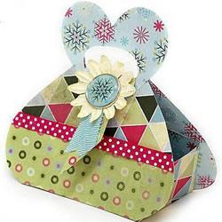 卡纸折心形盒子带展开图 手工爱心礼品盒折法