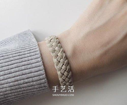 皮绳手链编法DIY图解 皮绳手工编织简约手链 -  www.shouyihuo.com