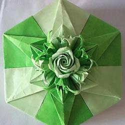 玫瑰百合礼品盒折纸 情人节完美包装盒的折法